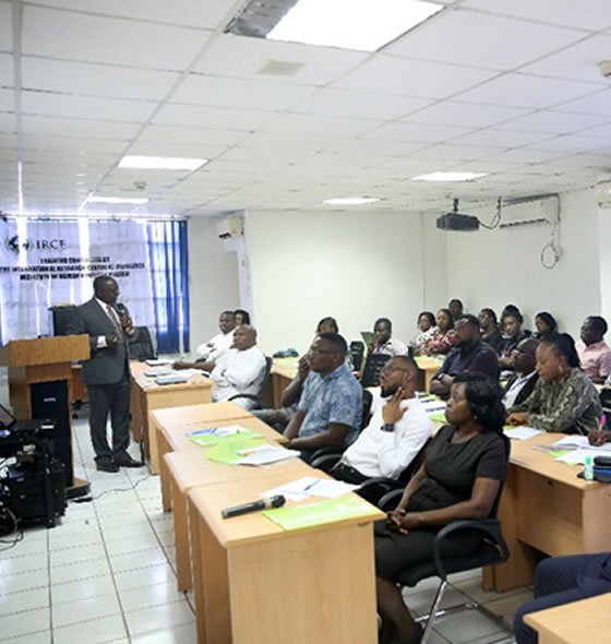 IHVN CE0, Dr. Patrick Dakum giving orientation to new PCT staff on strategies for quality programs